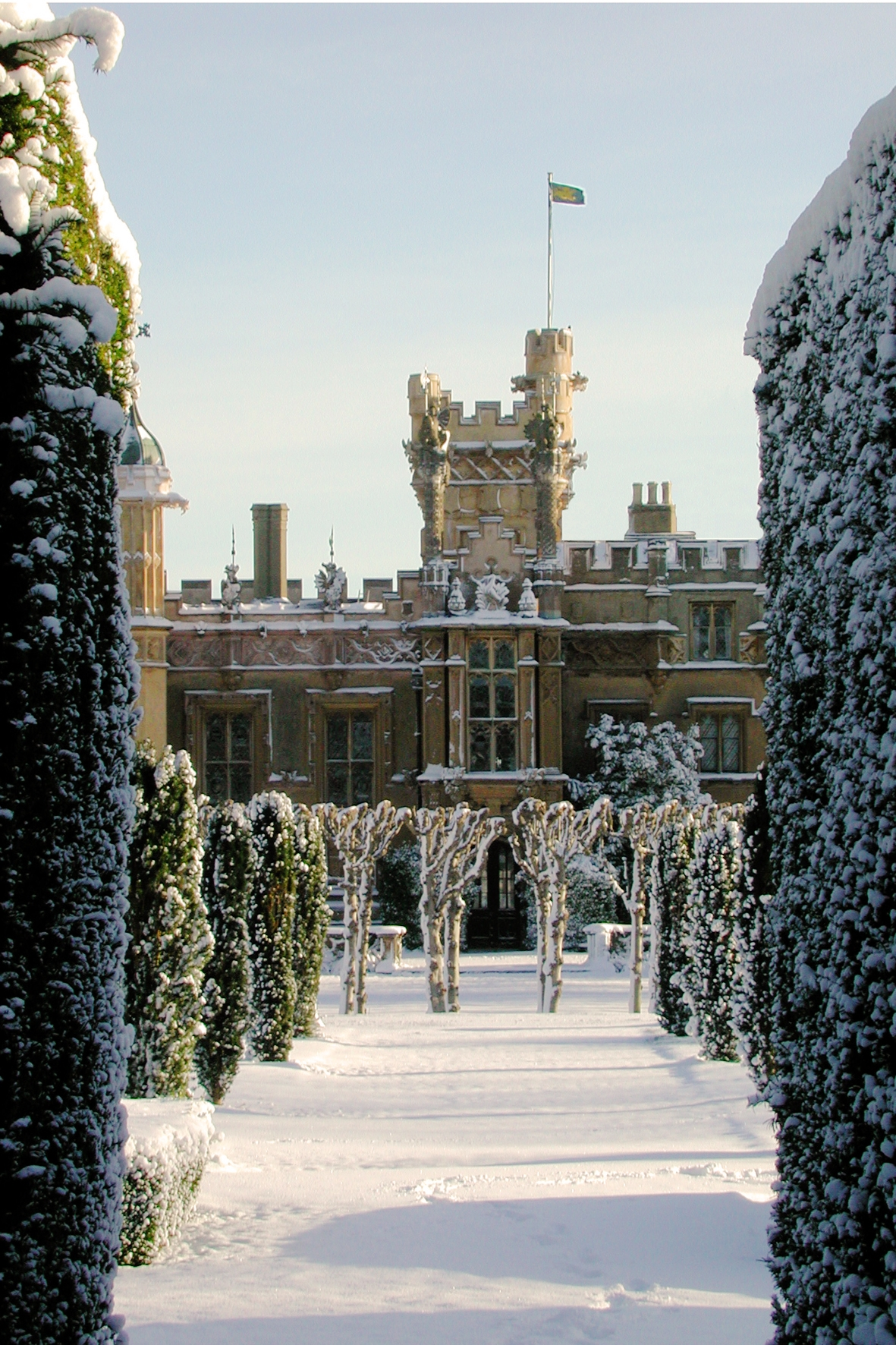 Knebworth House in the snow